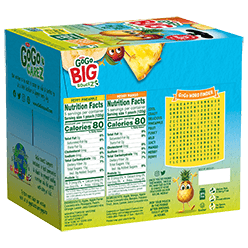 Alternative View #1 of Big SqueeZ 10-Pouch Variety: 5 Apple Pineapple Peach Orange, 5 Apple Mango Passion Fruit Banana Packaging