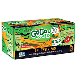 Click here to purchase GoGo squeeZ Halloween Pack - 20 pouch variety pack (10x Apple Apple, 5x Apple Banana, 5x Apple Strawberry)