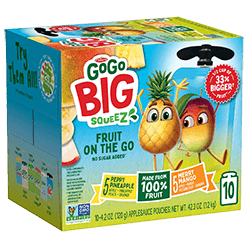 Click here to purchase Big SqueeZ 10-Pouch Variety: 5 Apple Pineapple Peach Orange, 5 Apple Mango Passion Fruit Banana