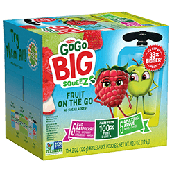 Image of Big SqueeZ 10-Pouch Variety: 5 Apple Apple, 5 Apple Raspberry Strawberry Vanilla Packaging