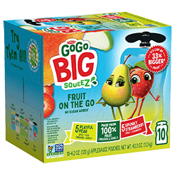Image of Big SqueeZ 10-Pouch Variety: 5 Apple Strawberry, 5 Apple Pear Cinnamon Vanilla Packaging